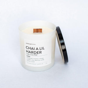 White 10oz Tumbler w/ lid - Chai a lil Harder