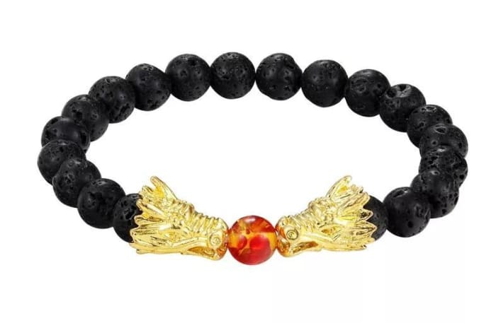 Dueling Dragons - Lava Stone Essential Oil Bracelet - Gold & Black