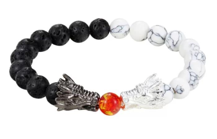 Lava Stone Essential Oil Bracelet- Dueling Dragons