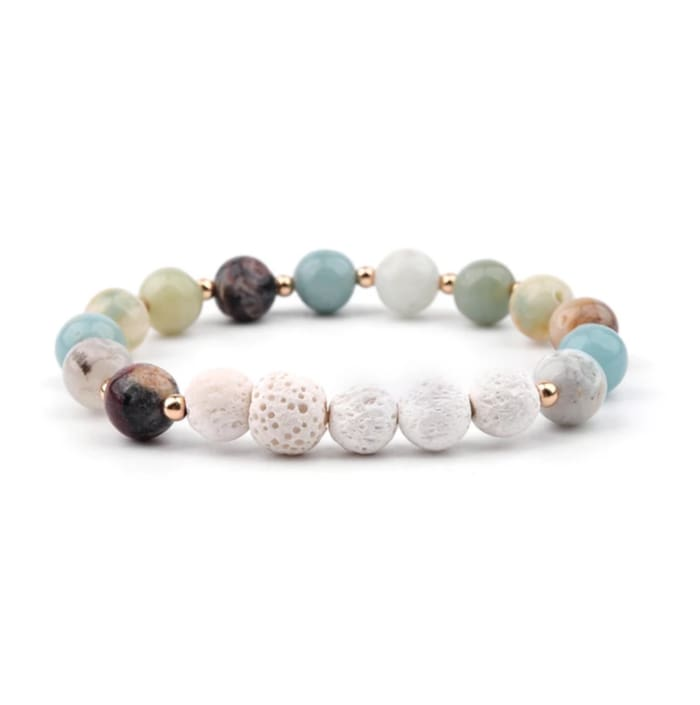 Lava Stone Essential Oil Bracelet - Amazonite and White 5