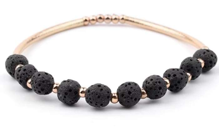Lava Stone Essential Oil Bracelet - Black Lava Stone and Gold