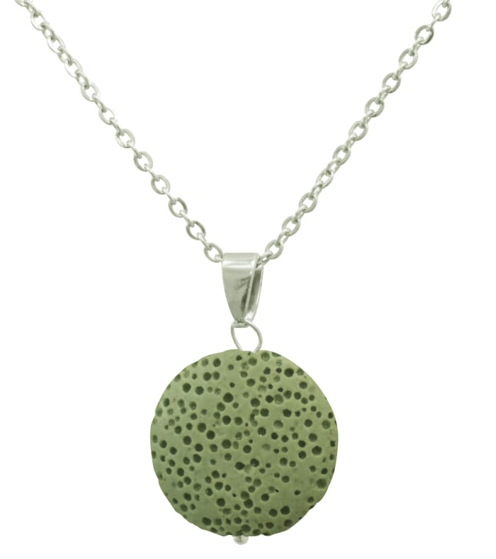 Light Green Lava Stone Essential Oil Necklace - Necklace