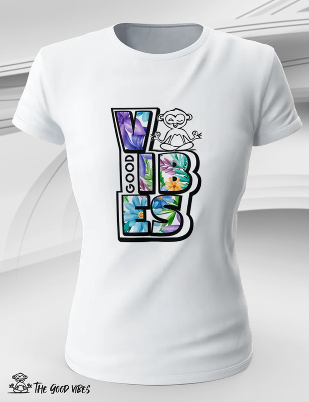 T-Shirt Donna - flowers - - The Good Vibes