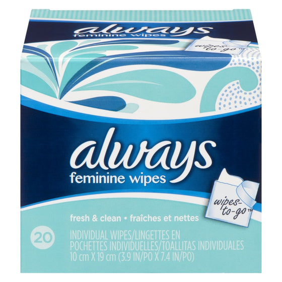Always Feminine Wipes Fresh & Clean Wipes-to-Go (20 each)