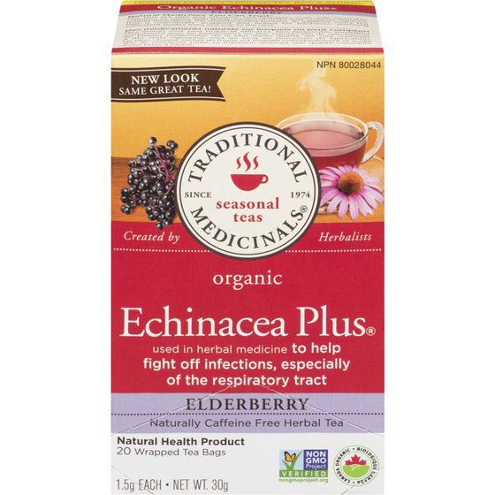 Traditional Medicinals Organic Echinacea Plus Elderberry Herbal Tea (20 each)