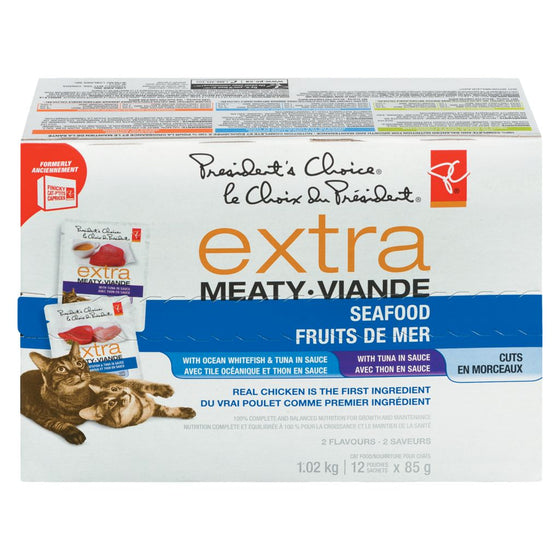 PC Extra Meaty Dry Cat Food with Seafood, Variety Pack (12 x 85 g)
