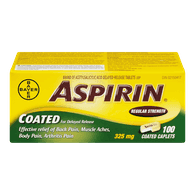 Aspirin 325 Mg Coated Caplets (100 ea)
