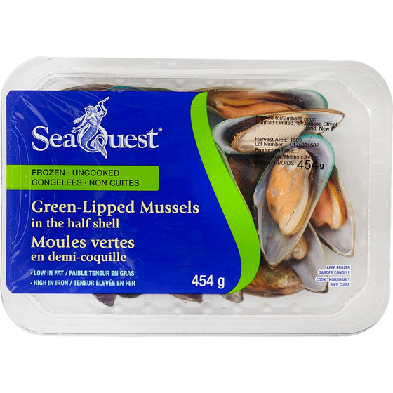 Seaquest New Zealand Green-Lipped Mussels in the Half Shell (454g)