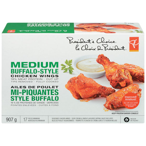 President's Choice Chicken Wings, Medium Buffalo with Sauce (907g)