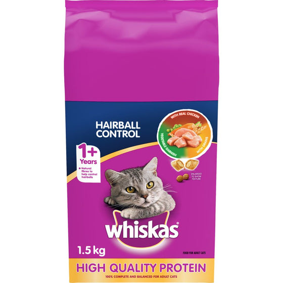 Whiskas Hairball Control with Real Chicken Dry Cat Food (1.50 kg)