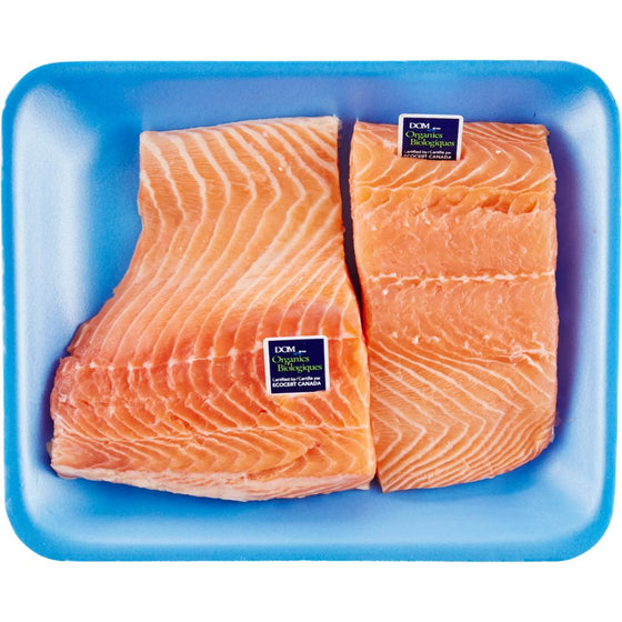 Fresh Organic Atlantic Salmon Fillets, Skin On, Packaged