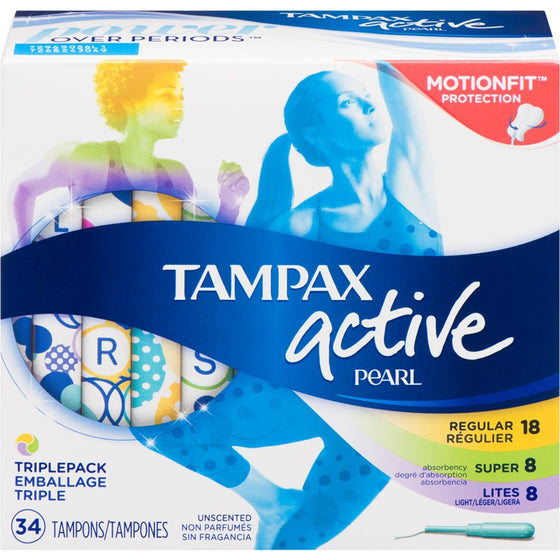 Tampax Plastic Tampons, Light/Regular/Super Absorbency, Unscented (34 each)
