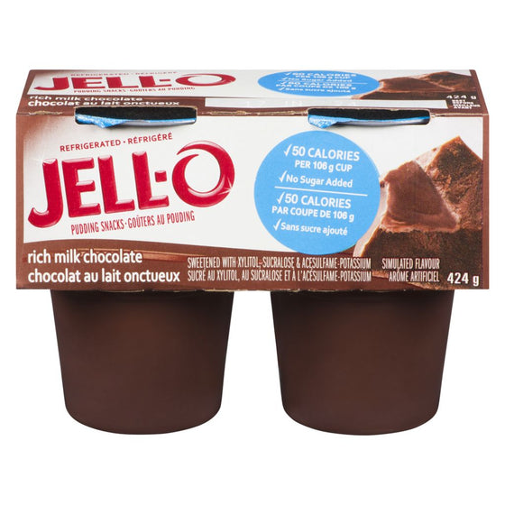 Jell-O Refrigerated Pudding Snacks, Rich Milk Chocolate (4 x 106 g)