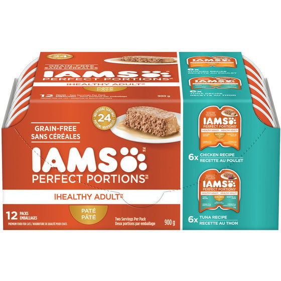 Iams Perfect Portions Pate Healthy Adult 12 Pack Chicken/Tuna (900 g)