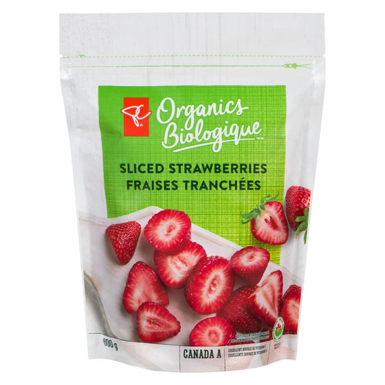 PC Organics Sliced Strawberries (600 g)