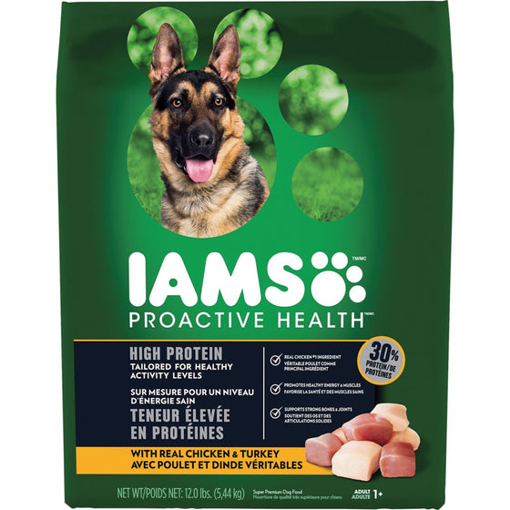 IAMS Proactive High Protein Adult Dry Dog Food, Real Chicken & Turkey (5.44 kg)