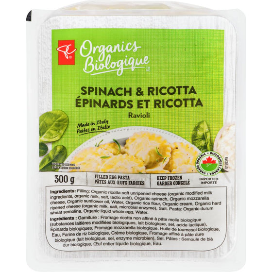 PC Organics Frozen Pasta Spinach and Ricotta (300 g)