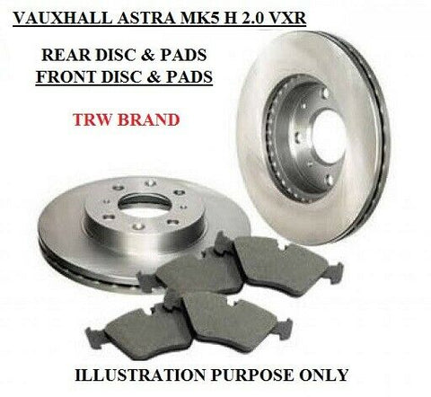VAUXHALL ASTRA H 2.0 VXR MK5 FRONT & REAR BRAKE DISCS AND PADS TRW BRAND