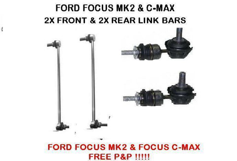 FORD FOCUS MK2 & FOCUS C-MAX FRONT & REAR ANTI ROLL BAR STABILISER DROP LINK X2