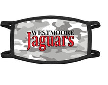 Load image into Gallery viewer, Westmoore Jaguars white camo cotton masks. www/okmasko.com reusable face masks