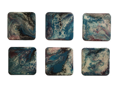 Coaster Set - Marble Blue