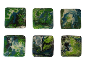 Coaster Set - Marble Green