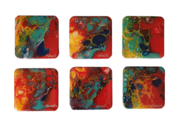 Coaster Set - Marble Red