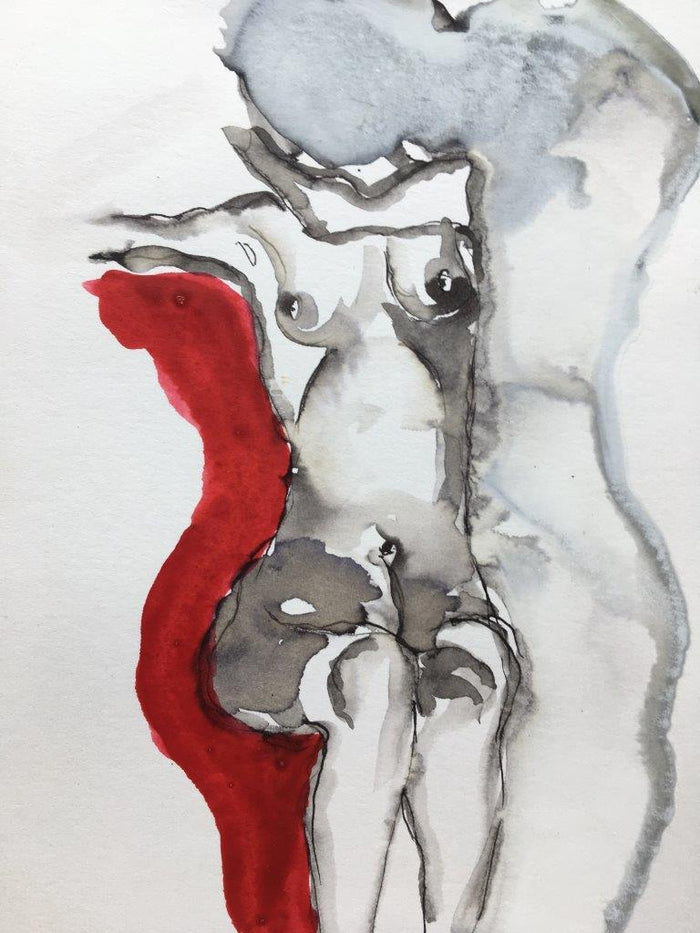 Schiele Nude On Red III