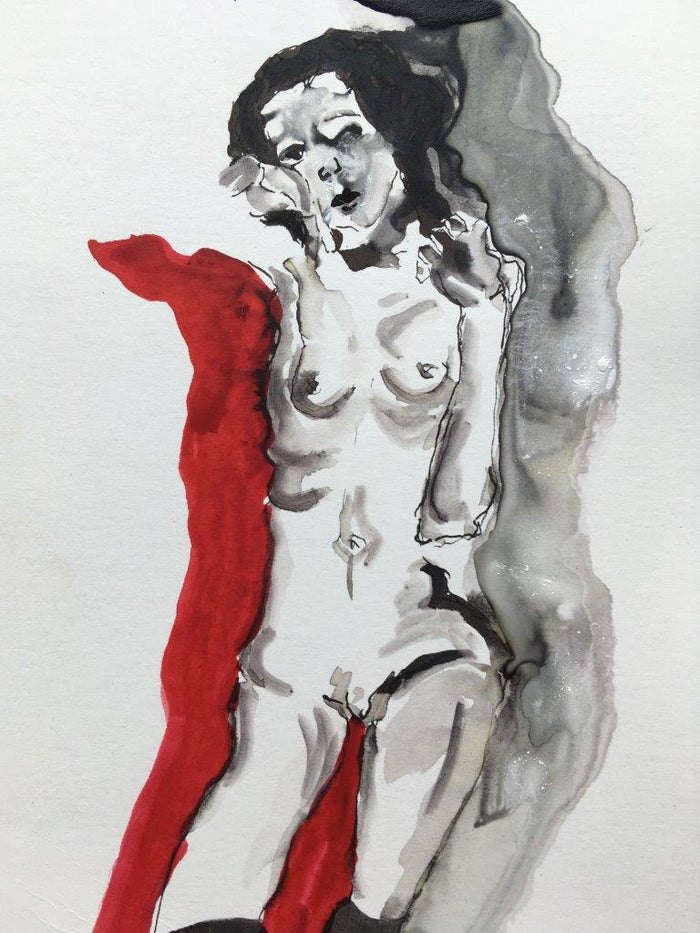 Schiele Nude On Red II
