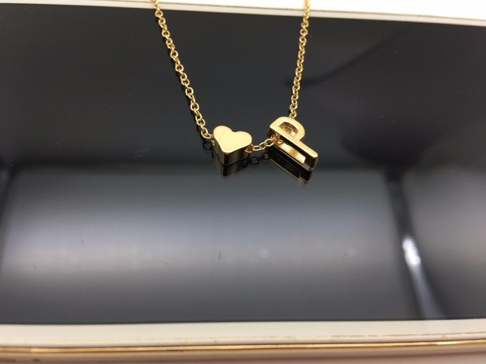 Custom Heart Initial Necklace