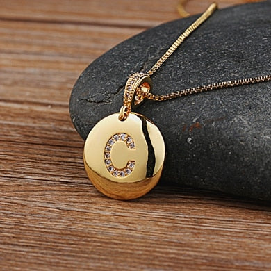 Custom Initial Necklace Gold