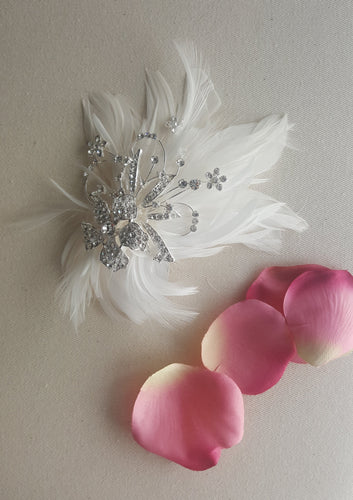 white feather and crystal  bridal headpiece