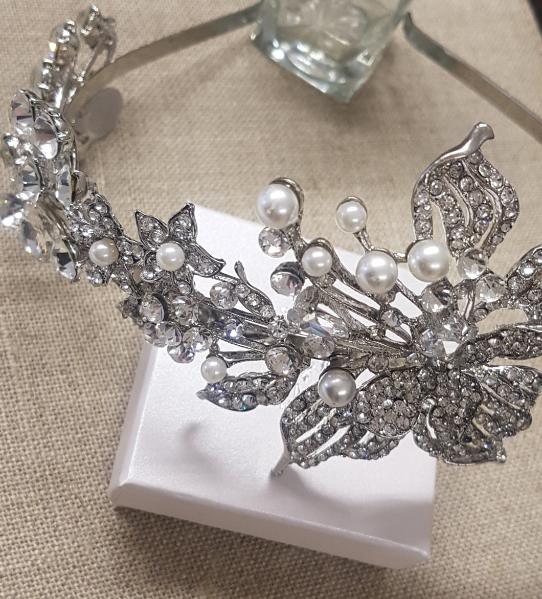 Hayleigh Silver and Crystal Headband