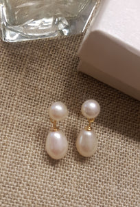 Audrey Double Pearl Drop Earrings