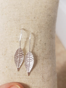 Silver Leaf Drop Earrings