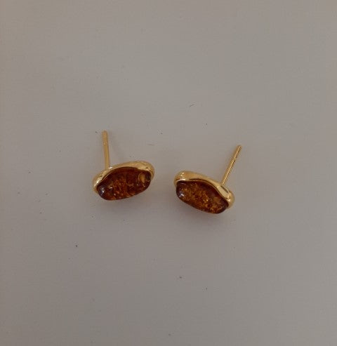 Gold and Amber Stud Earrings