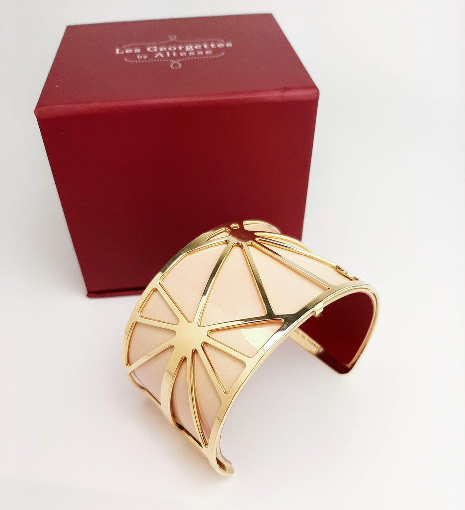 Les Georgette Large Gold Bangle - With Red/Cream Leather Strap