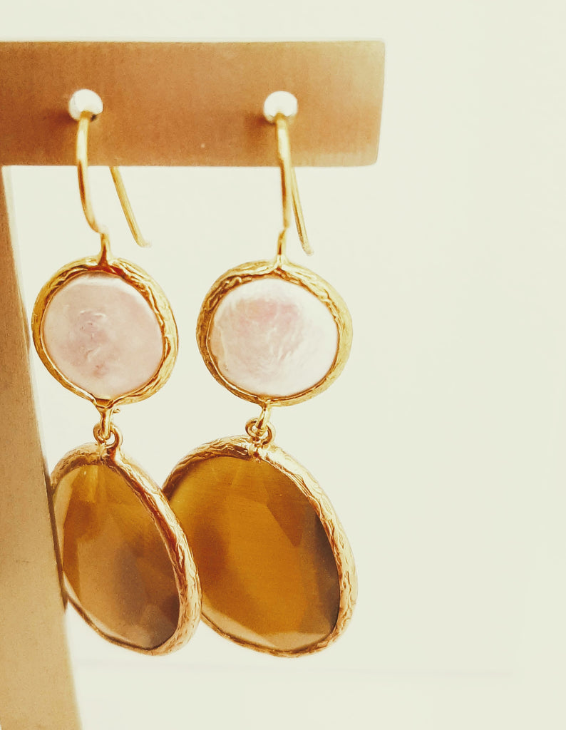 Bronze Coloured Cat's Eye Statement Earrings