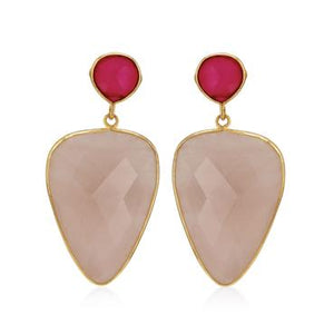 Rose Quarts and Pink Chalcedony Earrings