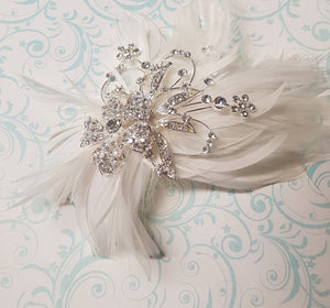 Katherina Silver Feather Headpiece