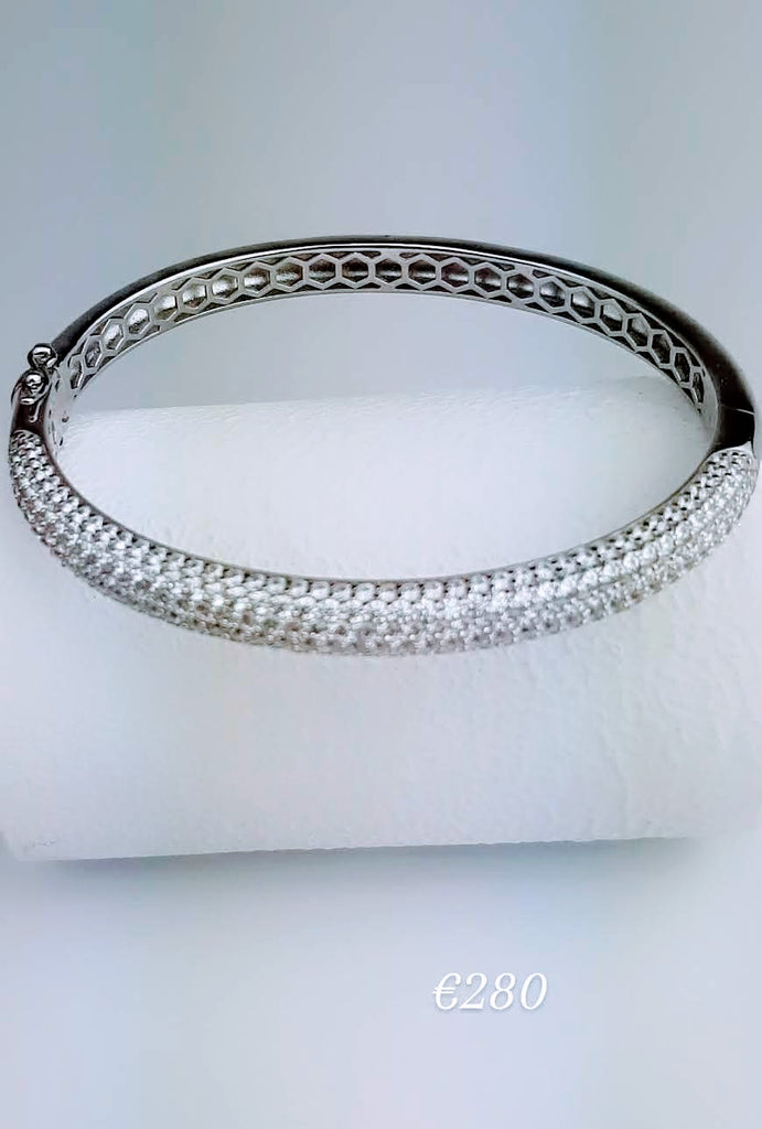 Sterling Silver Bangle with Encrusted with CZ