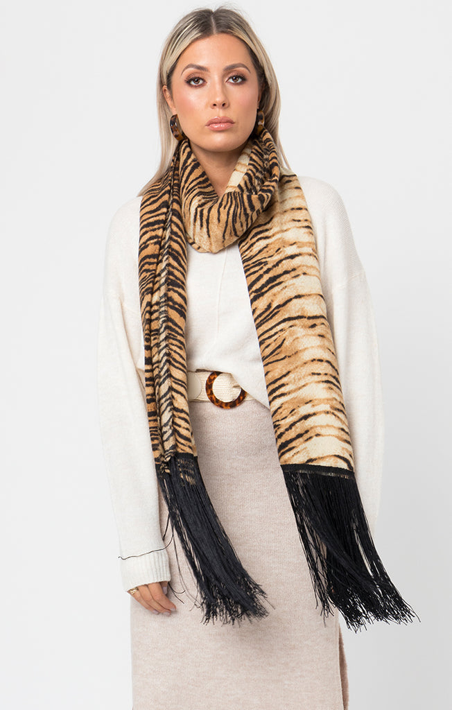 Tiger Print Scarf with Tassels