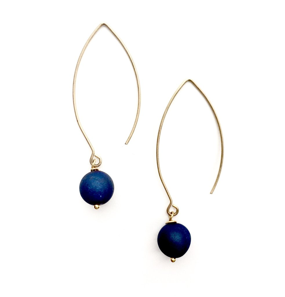 Navy Agate Earrings