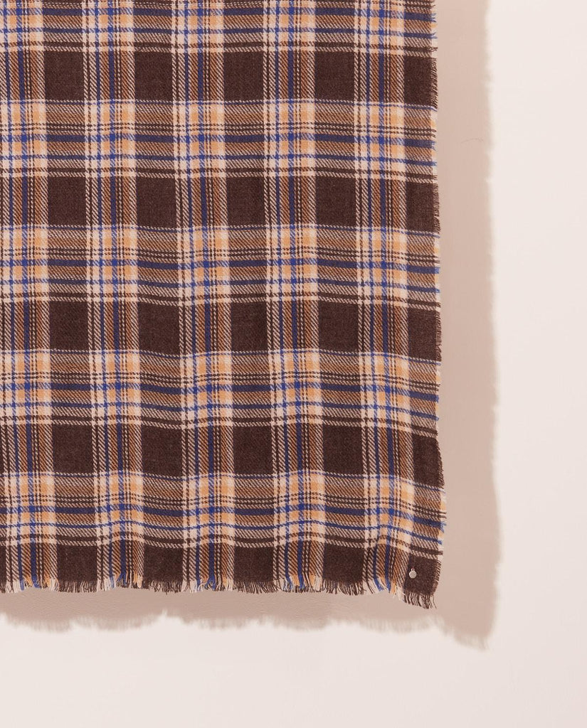 Brown and Navy Check Scarf