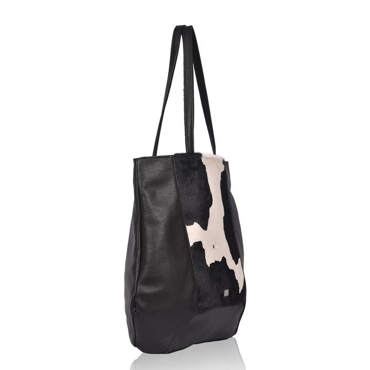 Black and White Cowhide Print Handmade Leather Tote Bag