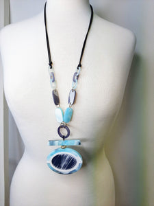 Duck Egg Blue and Grey Statement Resin Necklace
