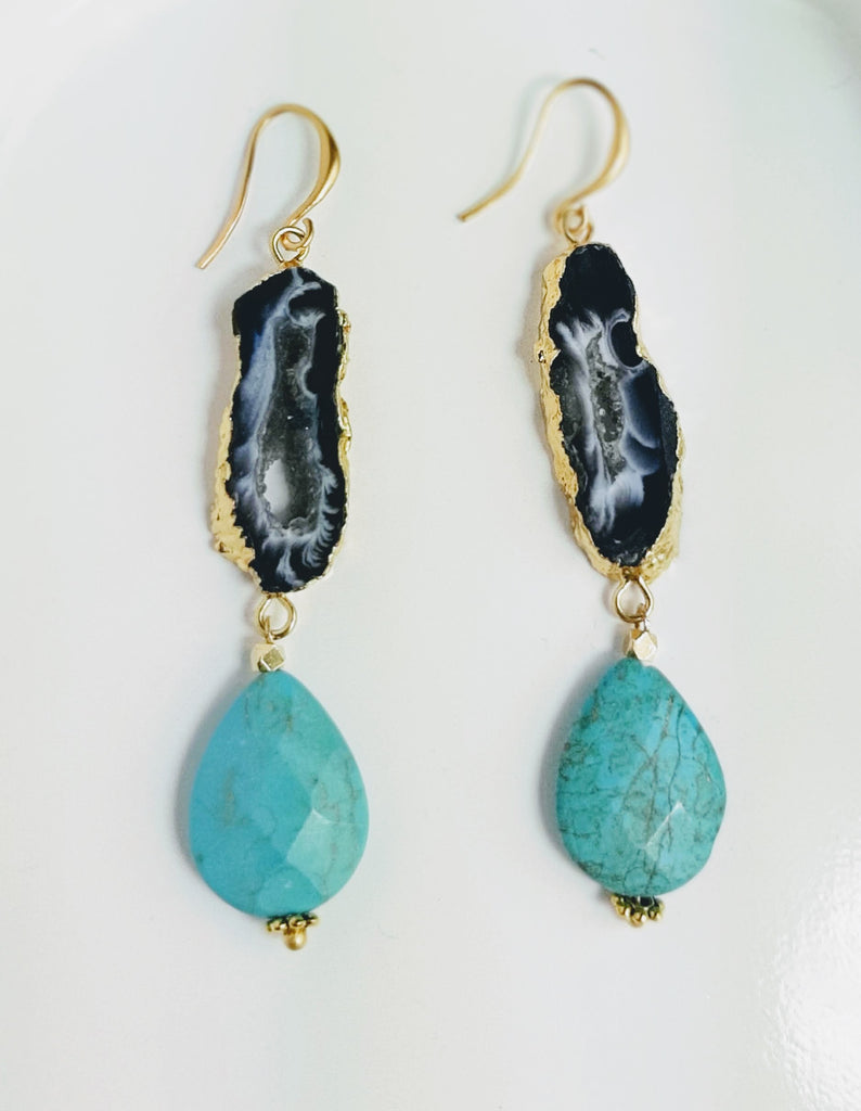 Turquoise and Geode Earrings