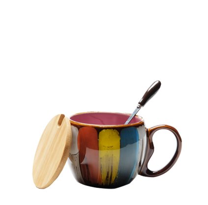 Creative ceramic cup with lid and spoon