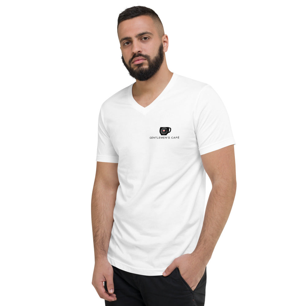 Gentlemen's Café - Unisex Short Sleeve V-Neck T-Shirt