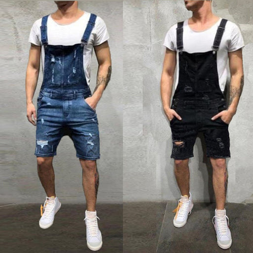 Mens Distressed Denim Overalls